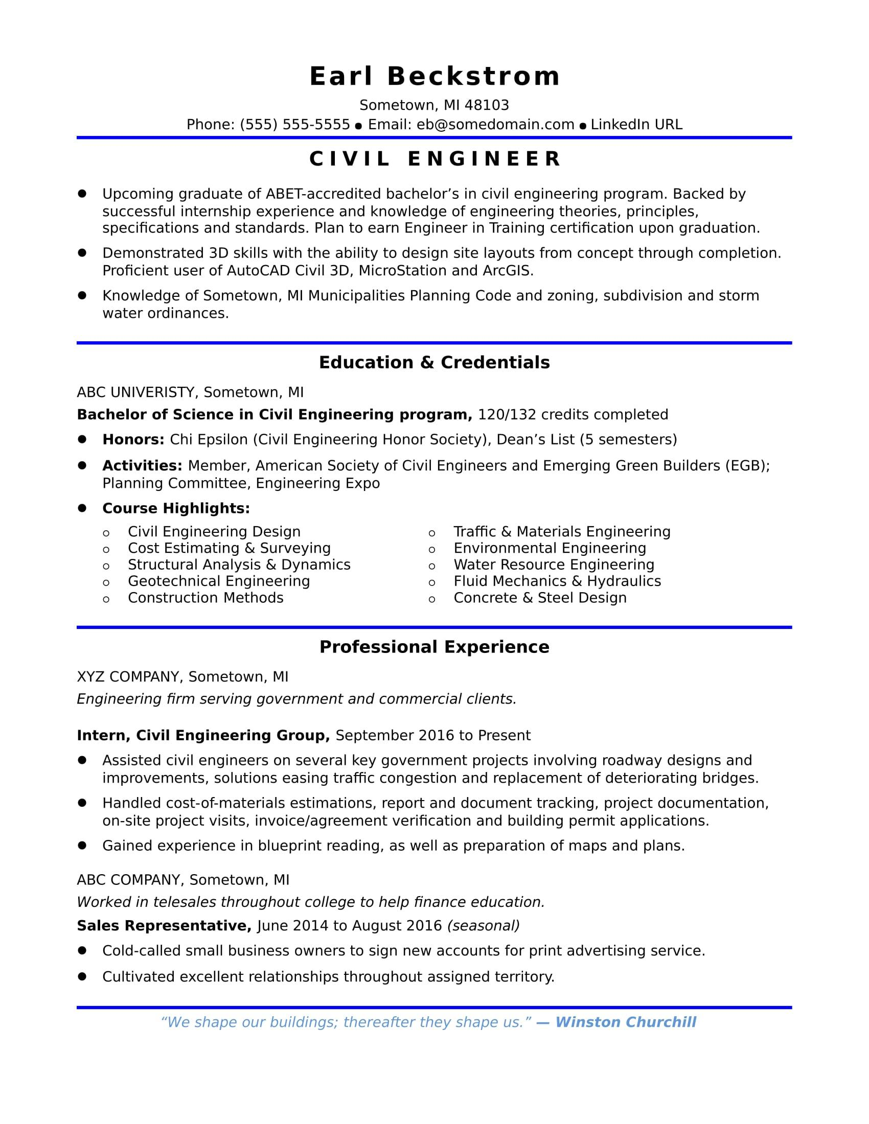 81 Lovely Civil Engineering Resume Examples for Design