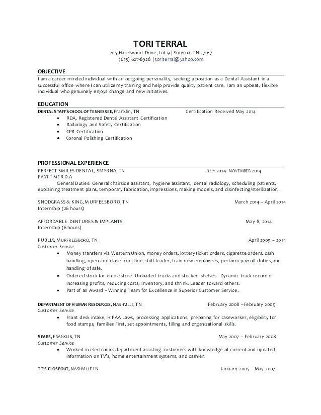81 New Dental Assistant Resume Skills Examples by Images