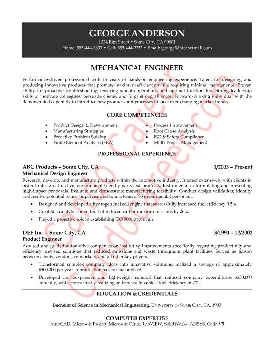 82 Beautiful Mechanical Engineer Resume Sample by Gallery