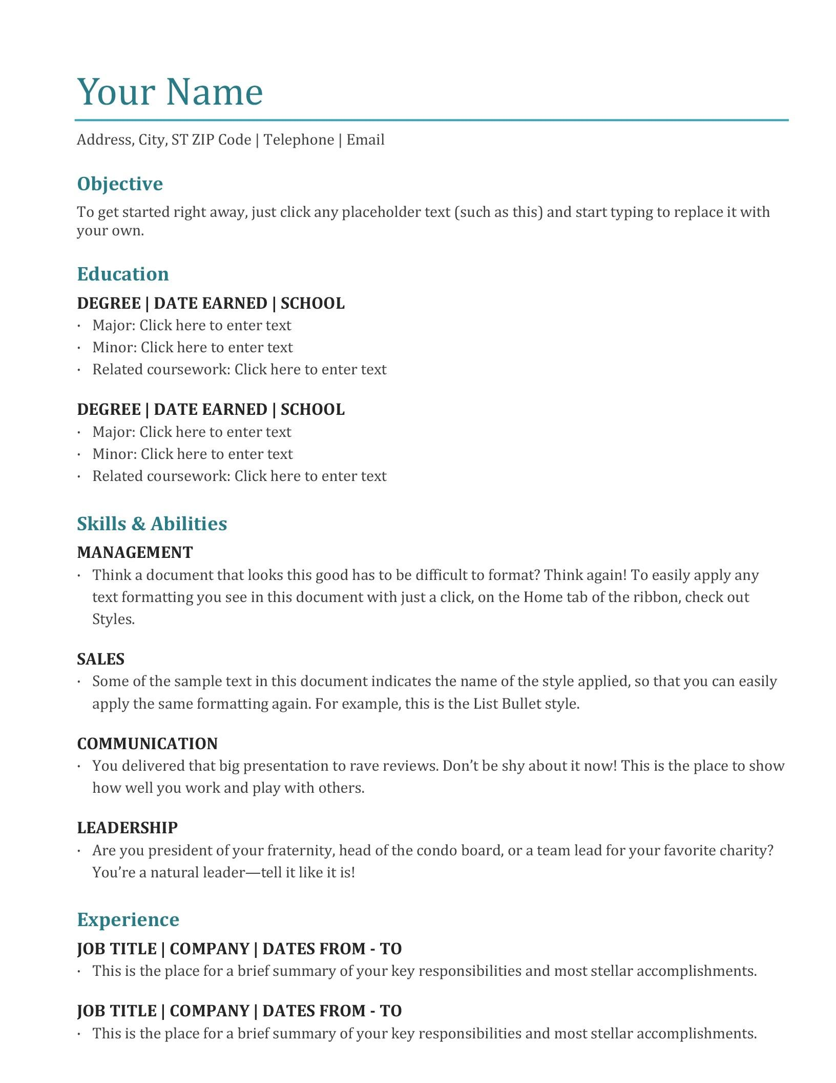 82 Cool Resume Examples Word with Ideas