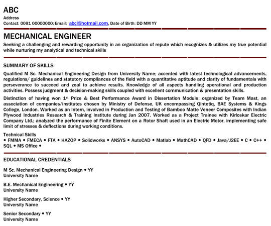82 Great Mechanical Engineer Resume Sample for Design