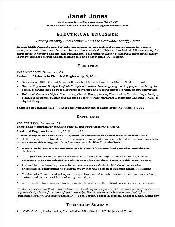 82 Stunning Electrical Engineering Resume Sample For Freshers for Pictures