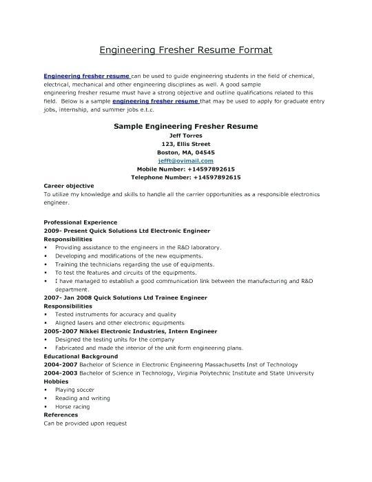 86 Nice Electrical Engineering Resume Sample For Freshers with Ideas
