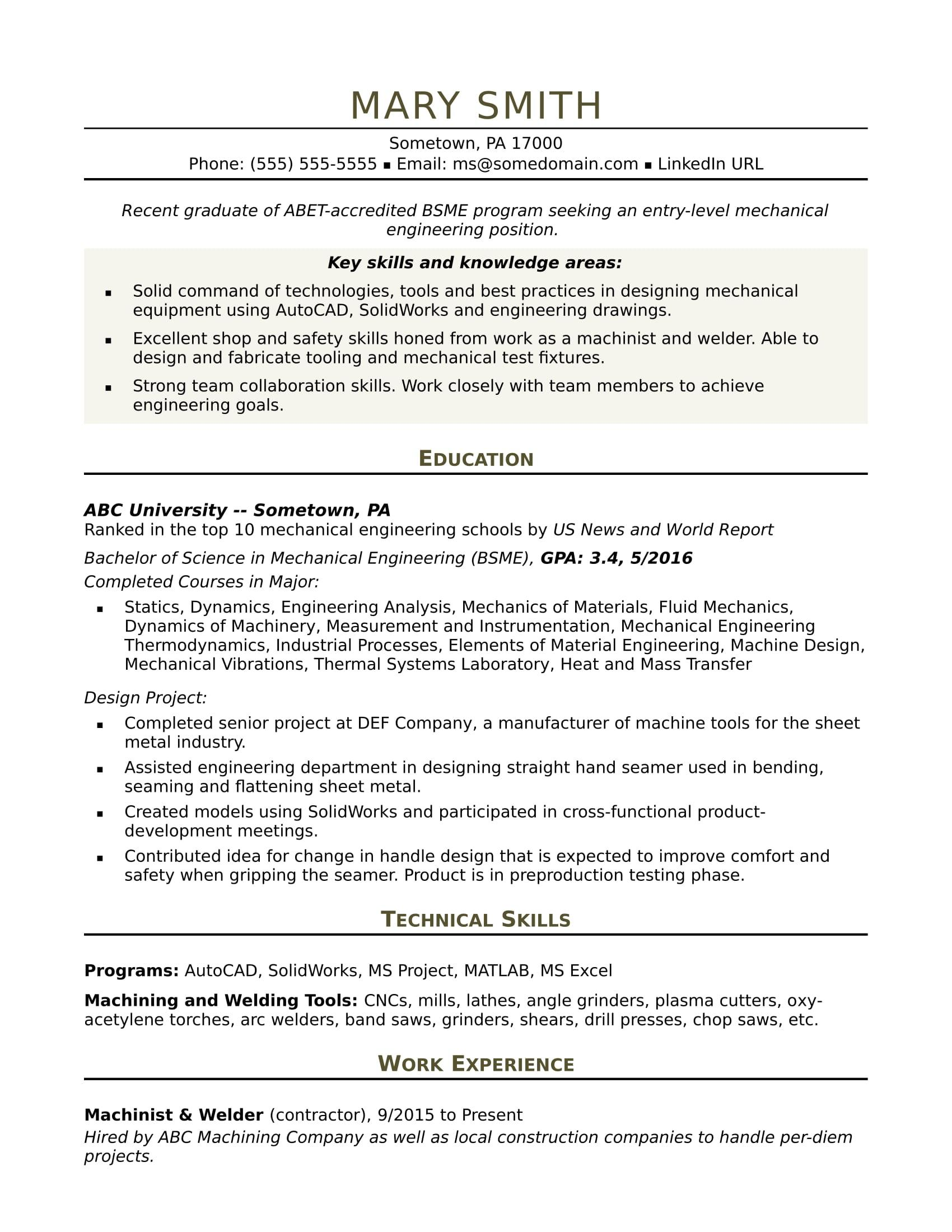 86 Nice Mechanical Engineer Resume Sample for Ideas