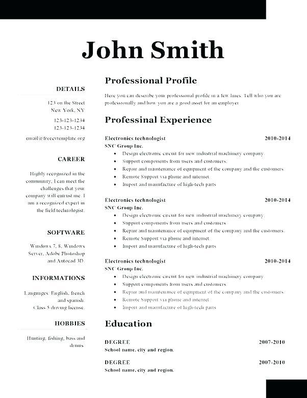 87 Excellent Free Pages Resume Templates for Gallery