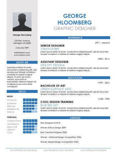 87 Excellent Graphic Resume Template for Pictures