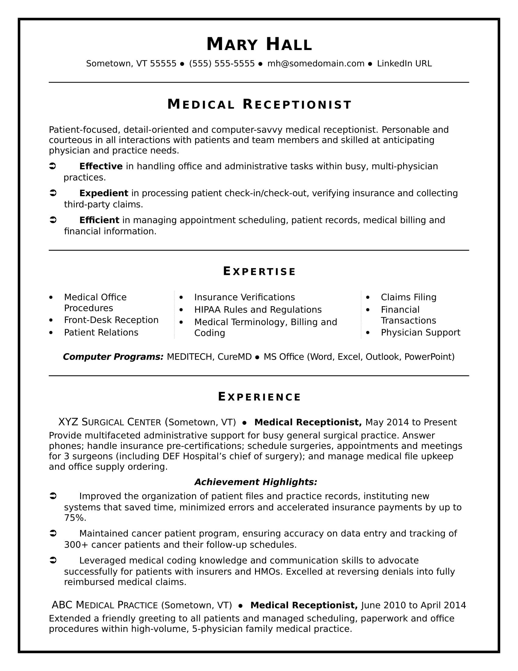 87 Lovely Medical Front Desk Resume by Graphics