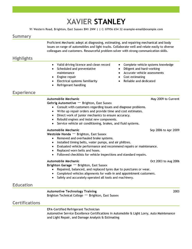 87 Stunning Auto Mechanic Resume Objective Examples with Pictures