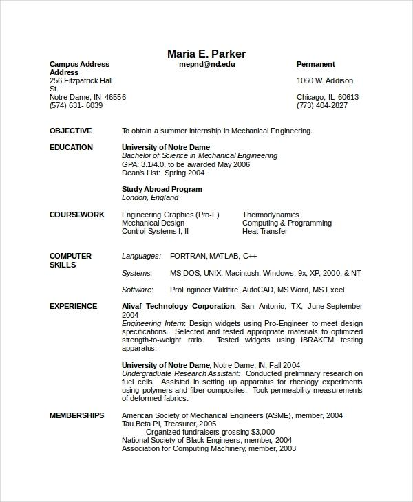 87 Stunning Mechanical Engineer Resume Sample for Gallery