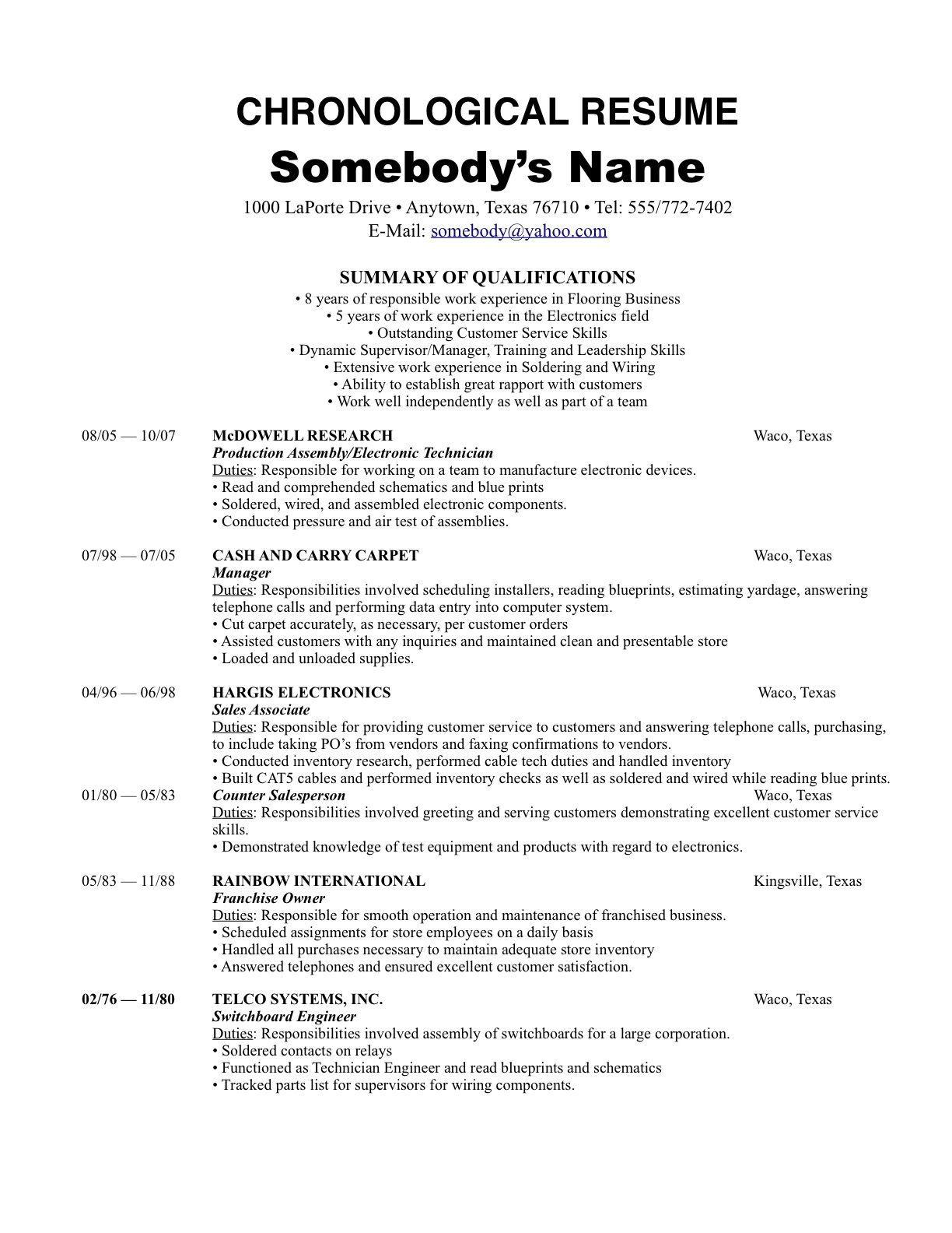 87 Top Chronological Resume Template for Design