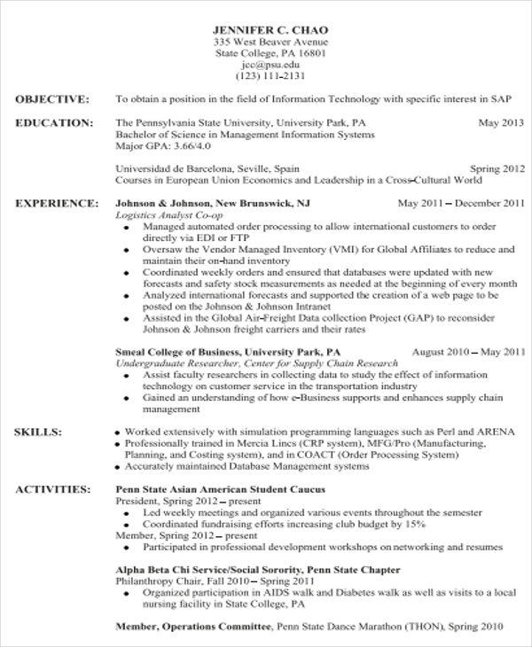 88 Fresh Sample Resume Format by Gallery