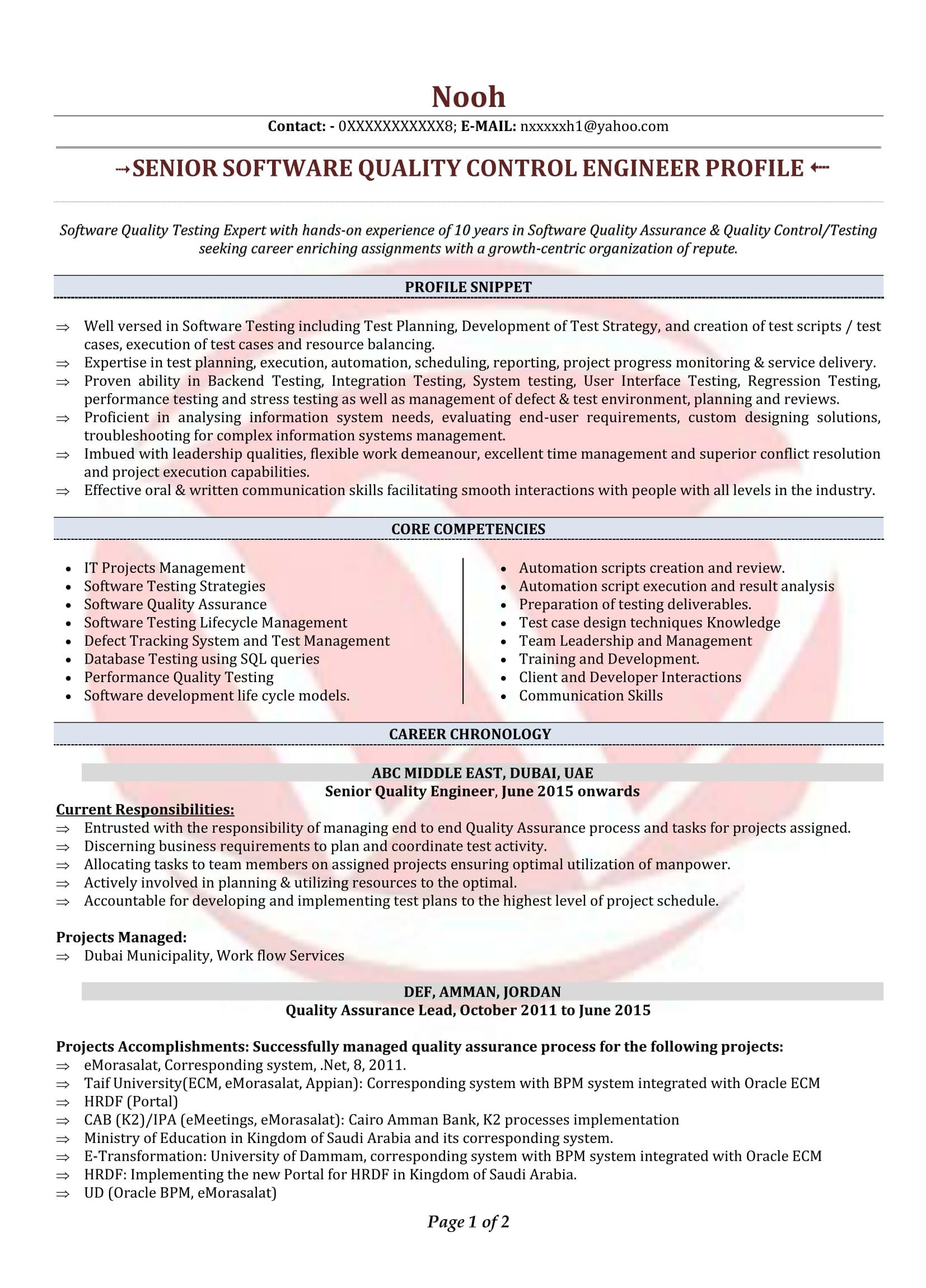 88 Inspirational Software Quality Assurance Engineer Resume with Ideas