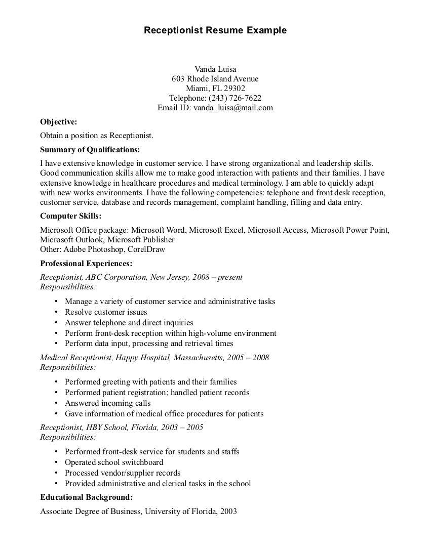 89 Excellent Medical Front Desk Resume for Design