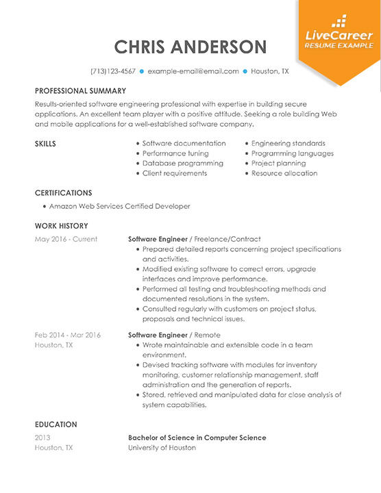 89 Great Software Professional Resume by Pictures
