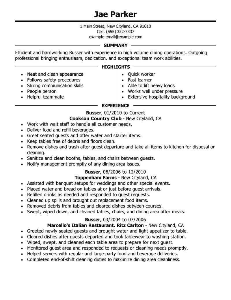 90 Top Busboy Resume by Images