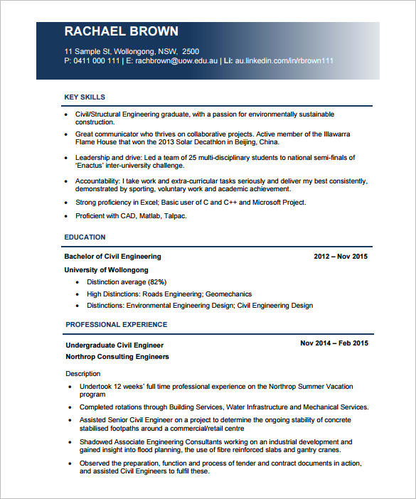 91 Best Civil Engineering Resume Examples for Pictures