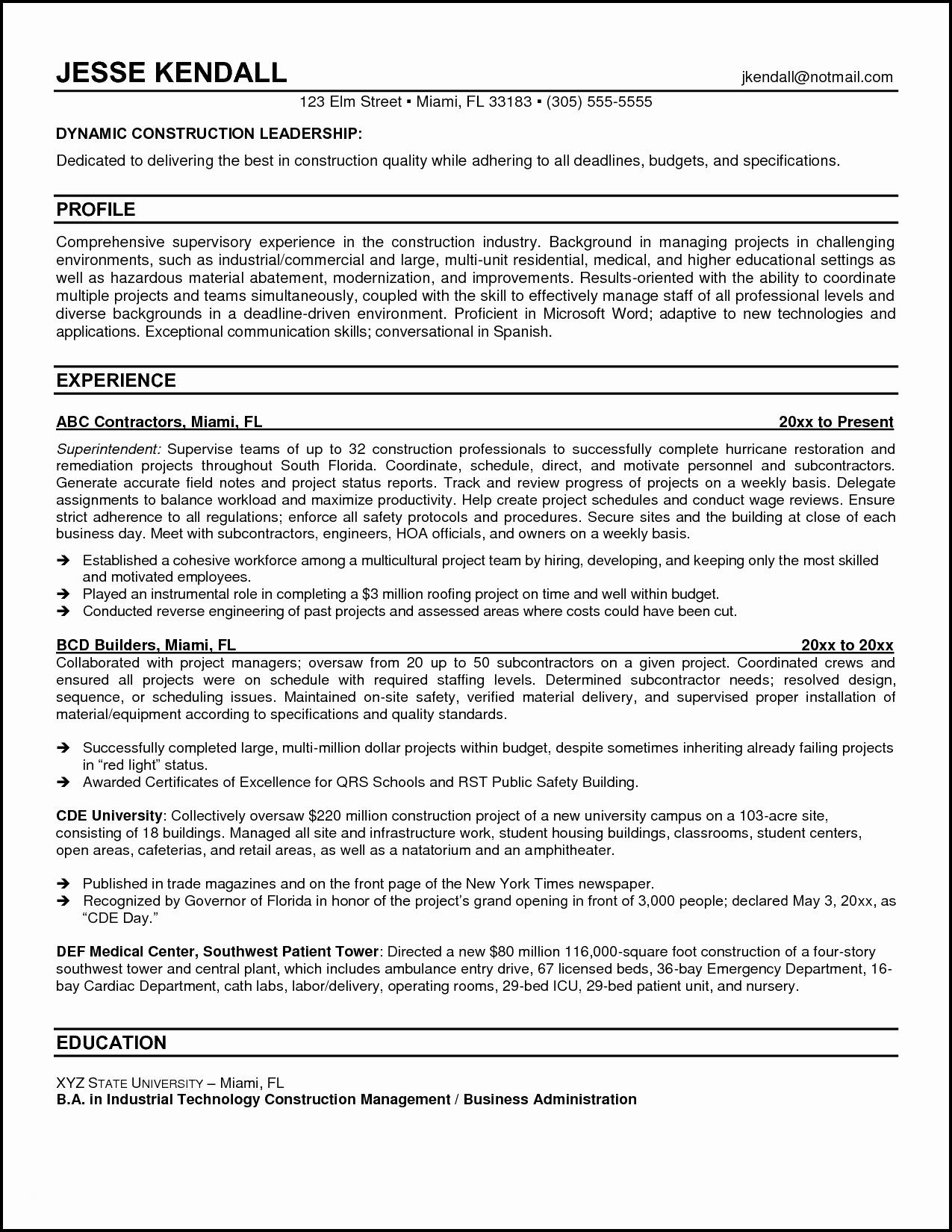 91 Best Construction Superintendent Resume Cover Letter Examples with Gallery