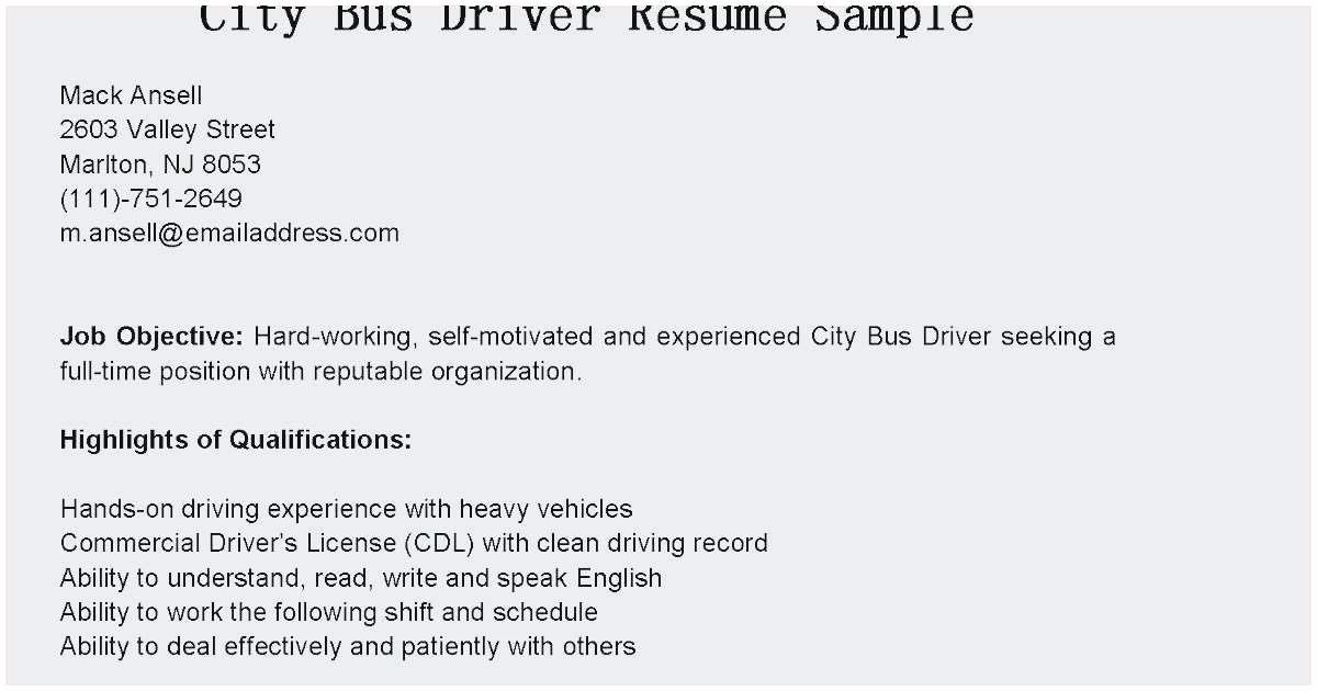 91 Fresh Bus Driver Resume Examples for Graphics