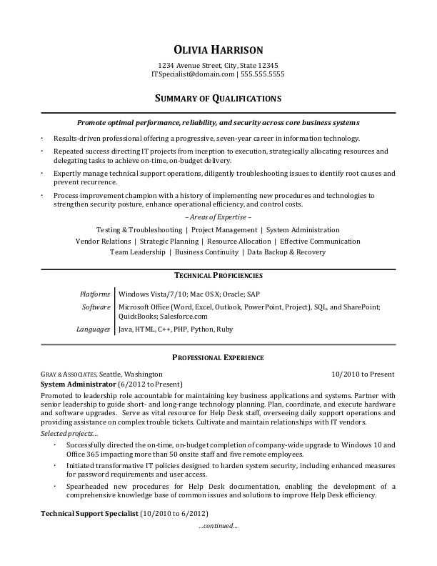 92 Best It Professional Resume Templates by Pictures