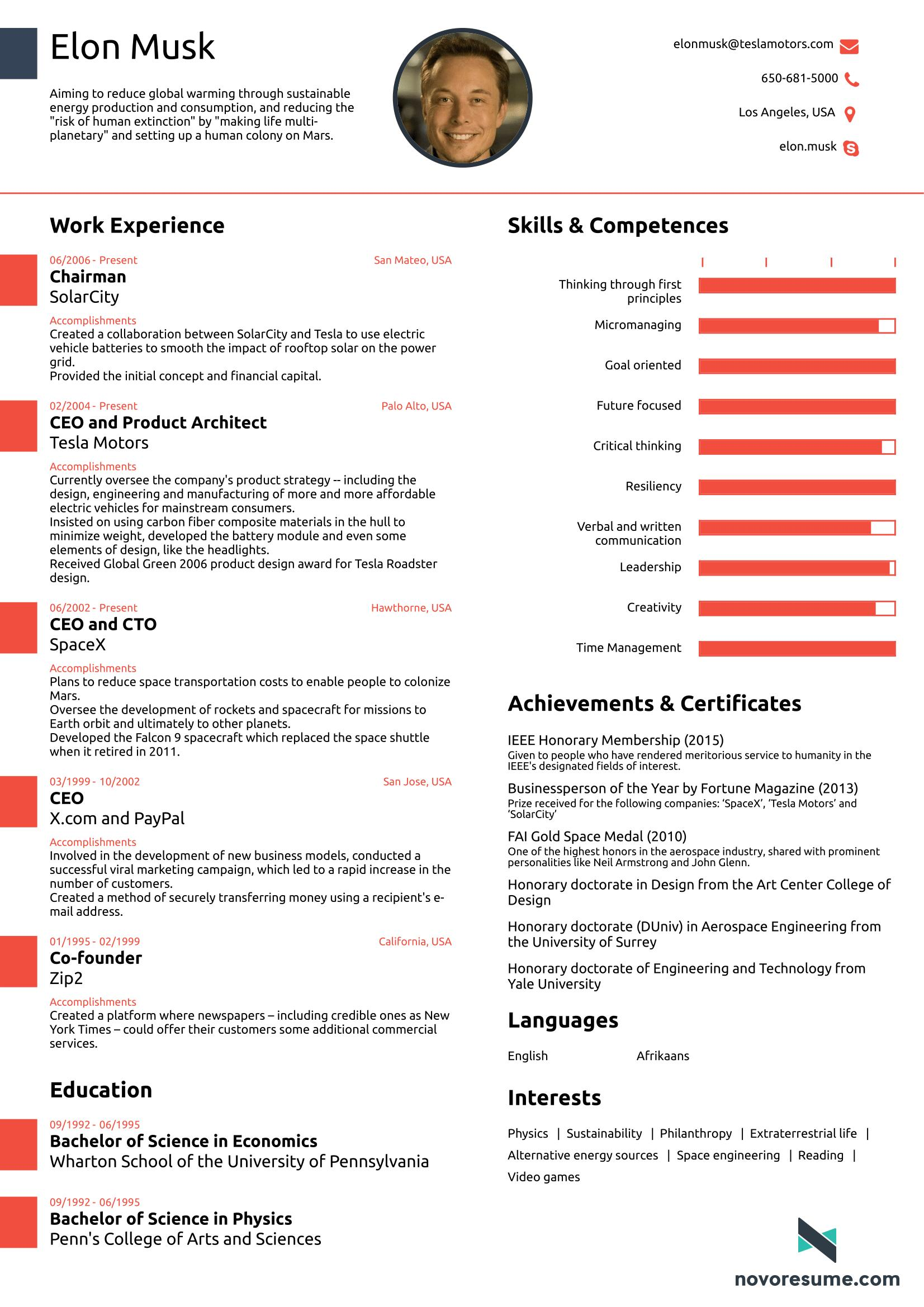 92 Cool A One Page Cv for Images