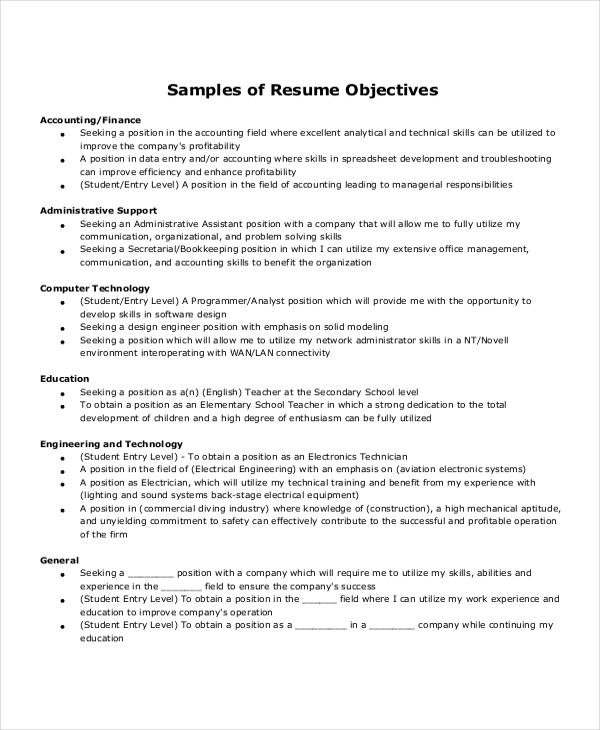 93 Awesome Sample Resume Objectives For Entry Level with Images