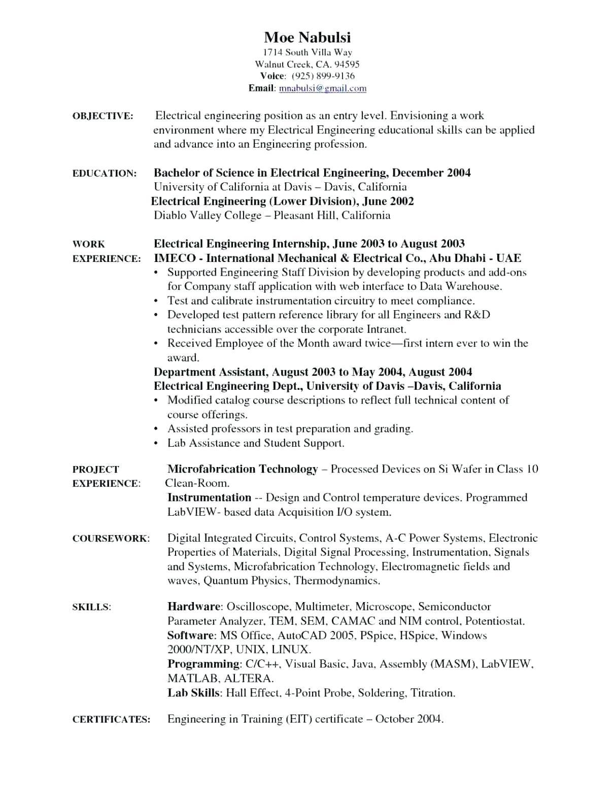 93 Beautiful Electrical Engineering Resume Sample For Freshers for Gallery