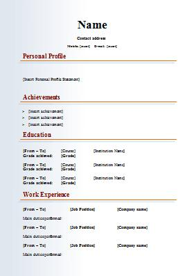 93 Excellent Perfect Cv Format by Gallery