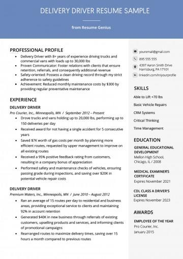 93 Great Delivery Driver Resume Sample Doc by Ideas