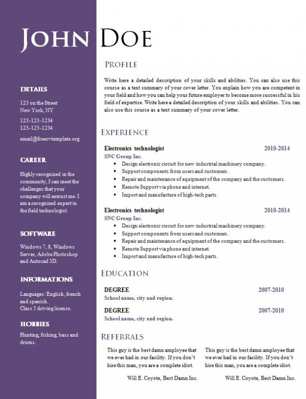 93 Lovely Resume Template Word Doc Free by Design