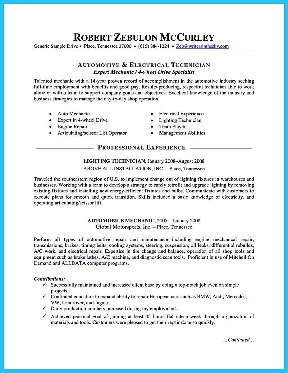 93 Stunning Auto Mechanic Resume Objective Examples with Images