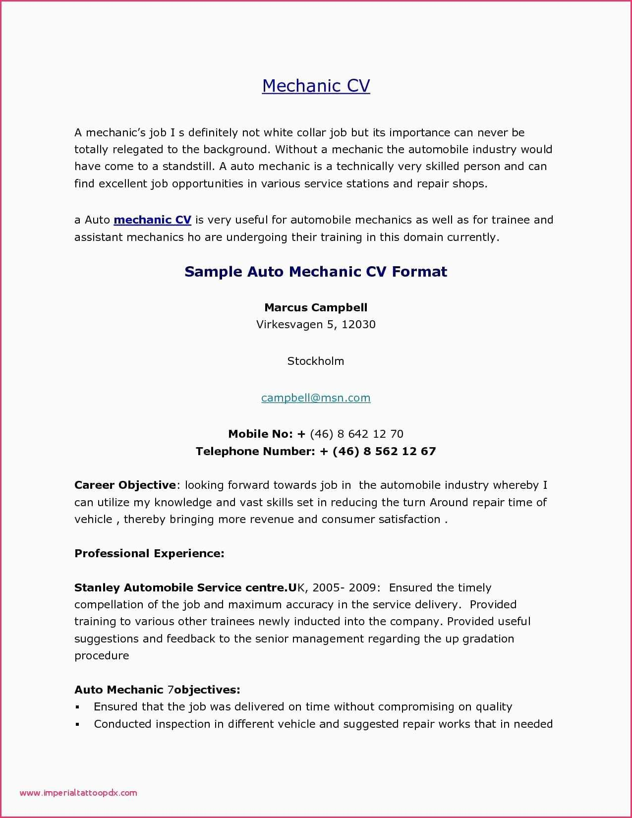 93 Top Auto Mechanic Resume Objective Examples by Graphics