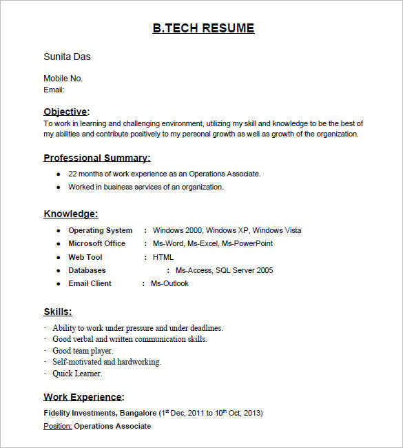 94 Awesome Resume Format For Freshers for Pics