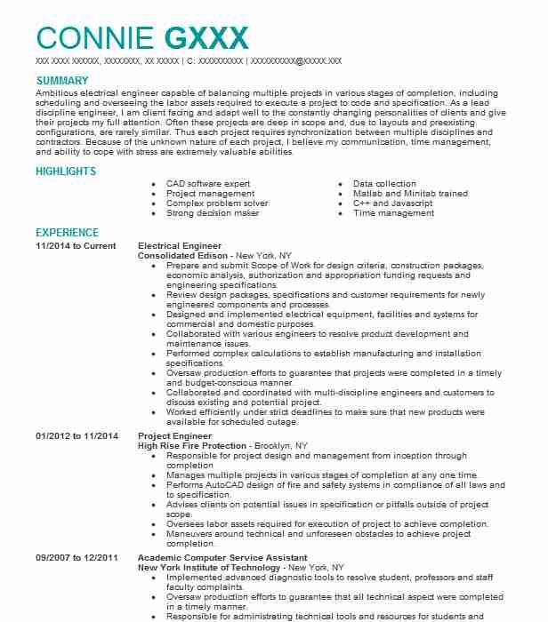 94 Beautiful Electrical Engineering Resume Sample For Freshers by Pictures