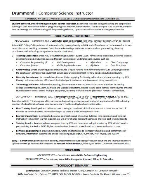 94 Best Sample Resume For Computer Science Engineering Students for Images