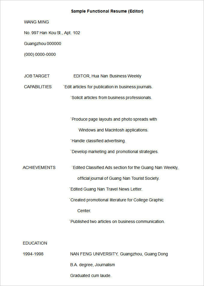 94 Fresh Resume Format Examples by Pictures