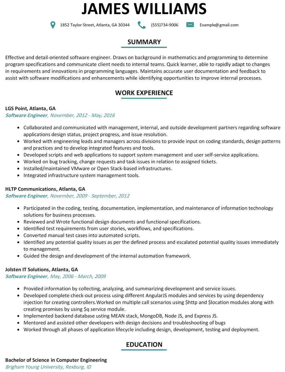 94 Lovely Computer Engineering Resume by Pictures