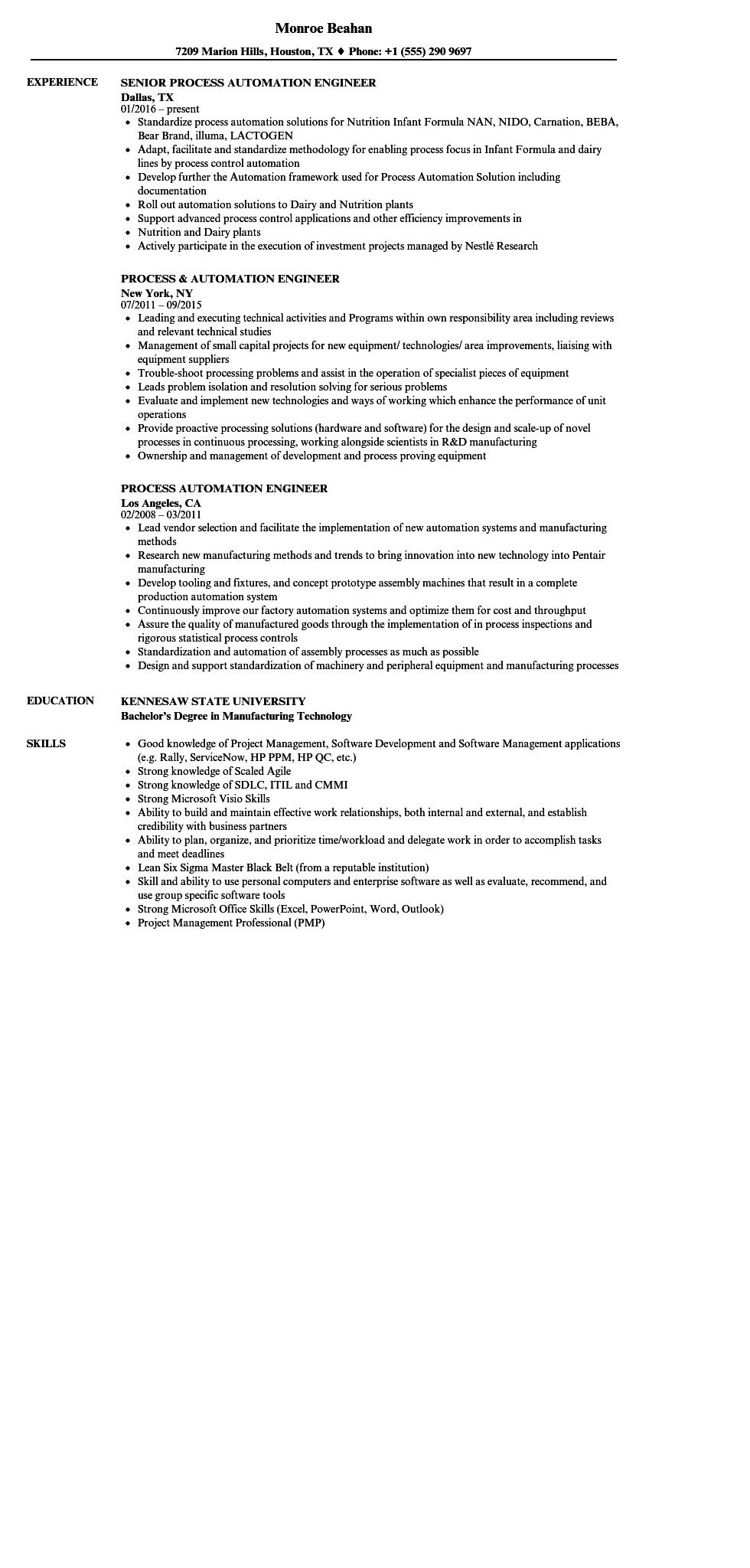 95 Best Automation Engineer Resume with Graphics
