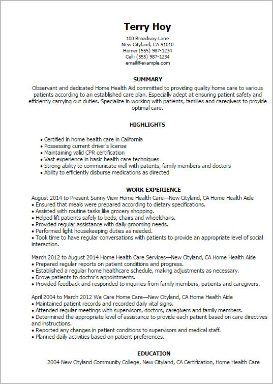95 Excellent Hha Resume with Images