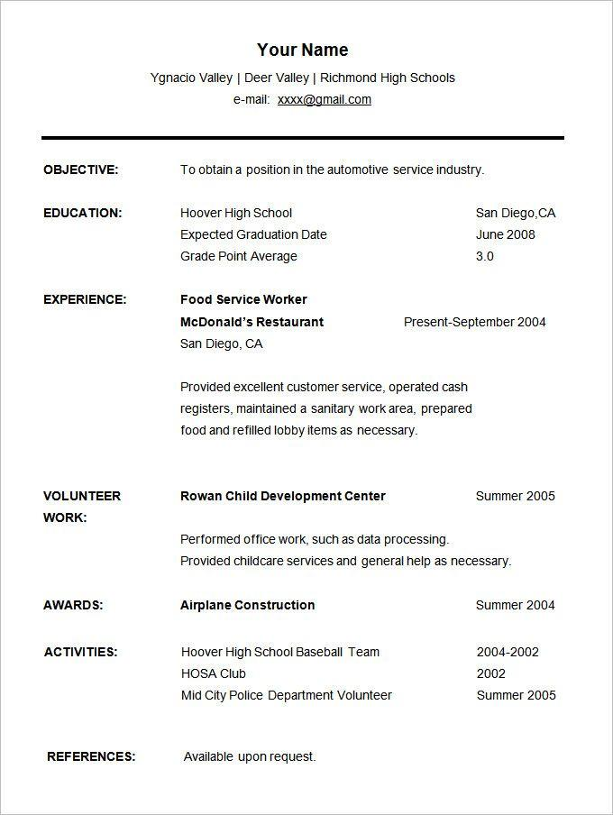 95 New Free Student Resume Templates by Pics