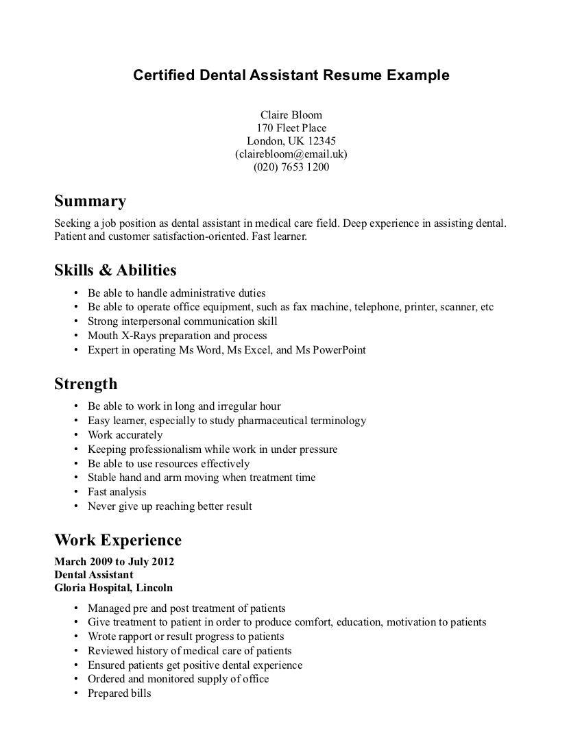 96 Awesome Dental Assistant Resume Skills Examples by Gallery