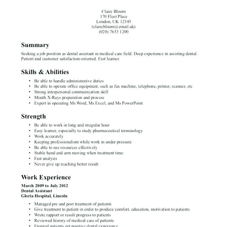 96 Cool Dental Assistant Resume Skills Examples for Images