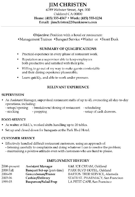 96 Great Food Runner Resume by Pics