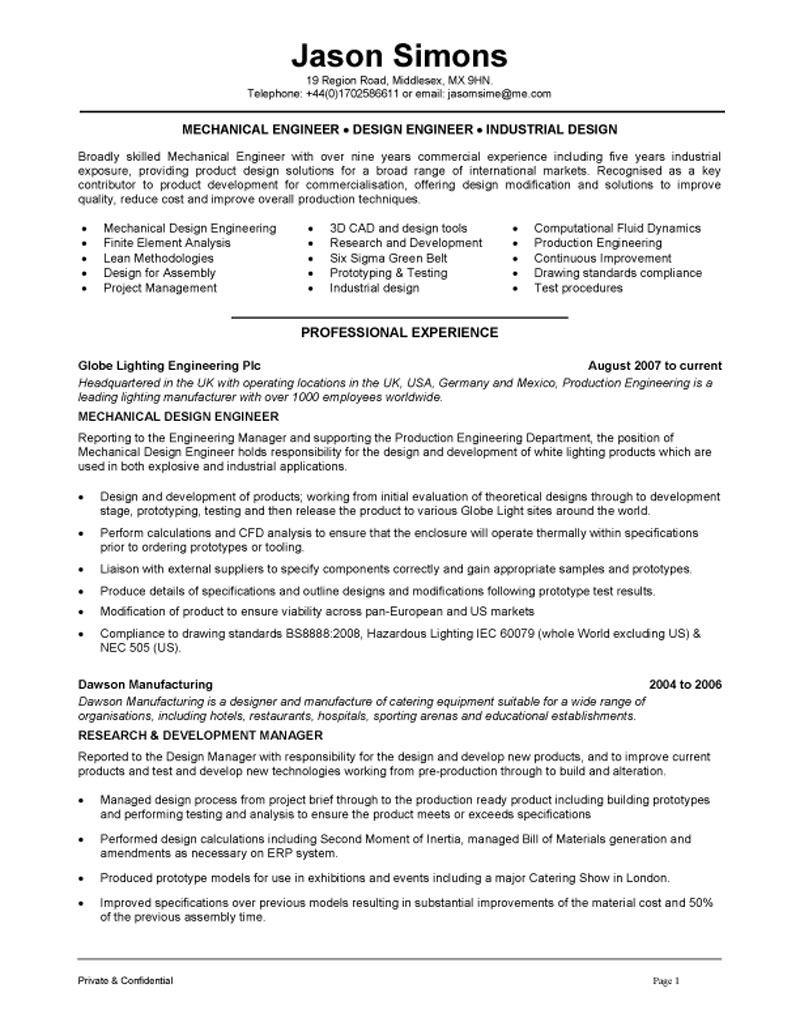 97 Top Mechanical Engineer Resume Sample with Design
