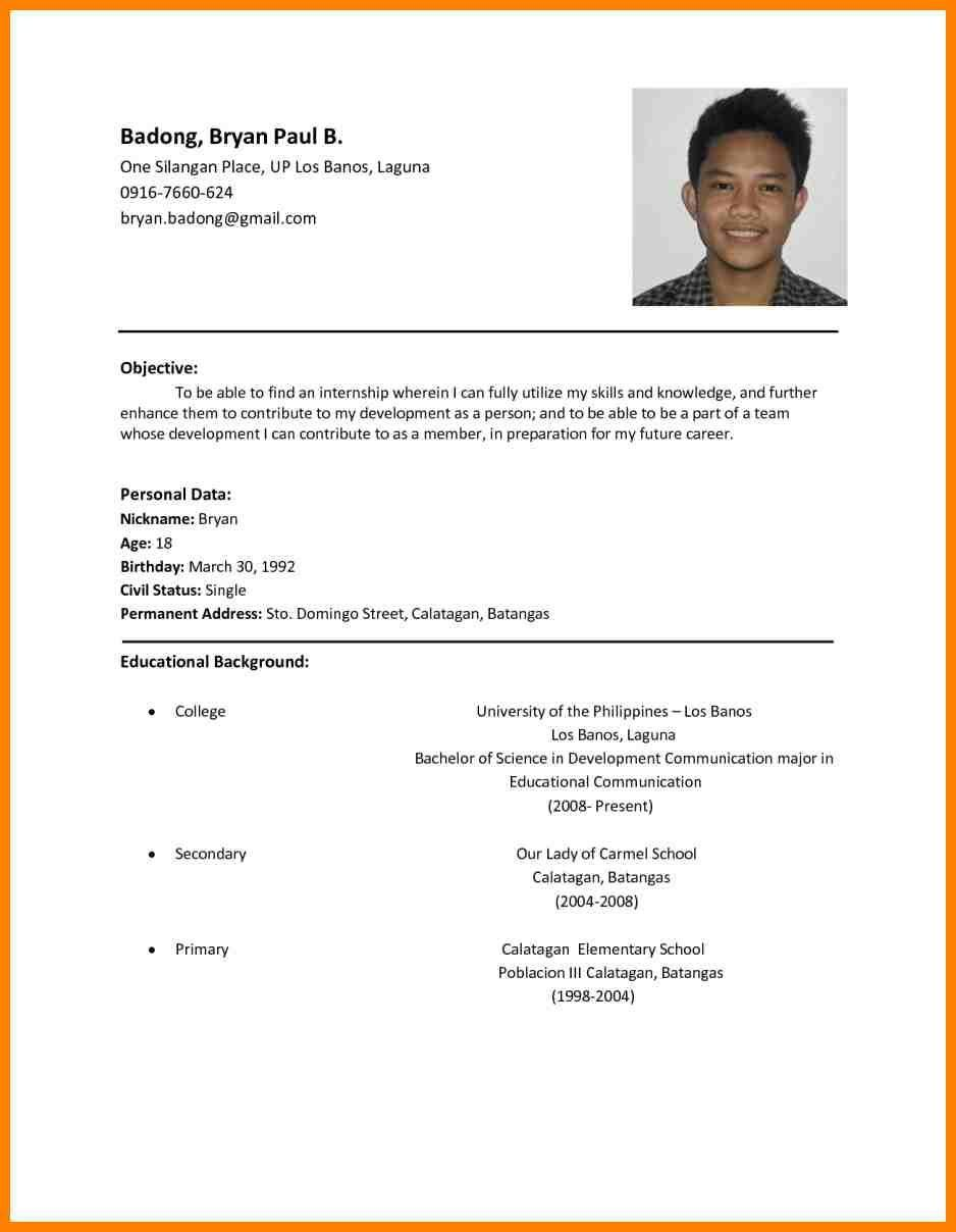 98 Beautiful Sample Resume Format for Pictures