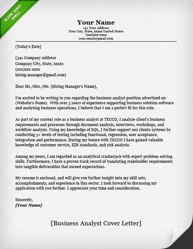 98 Excellent Business Cover Letter Sample by Gallery