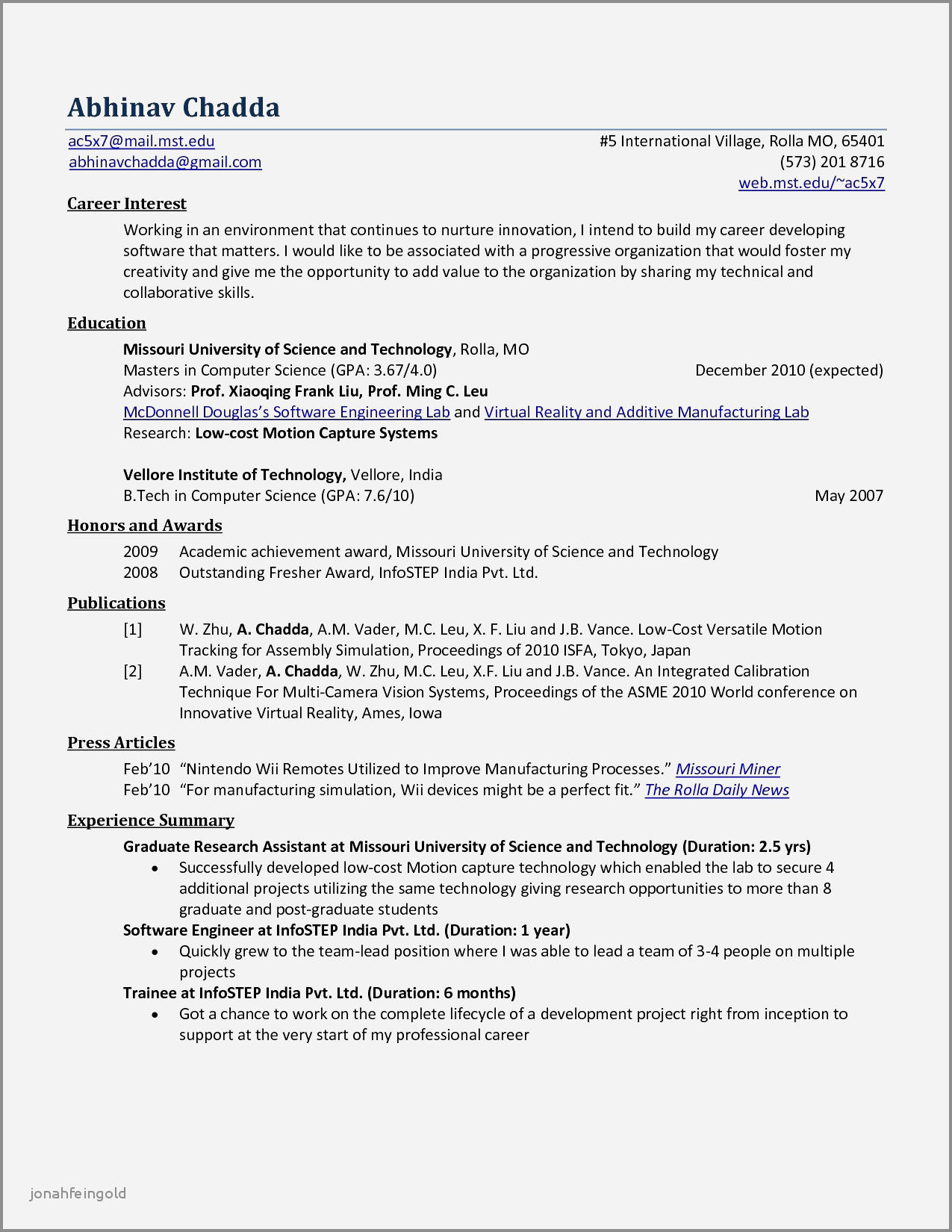 98 Inspirational Sample Resume For Computer Science Engineering Students for Graphics