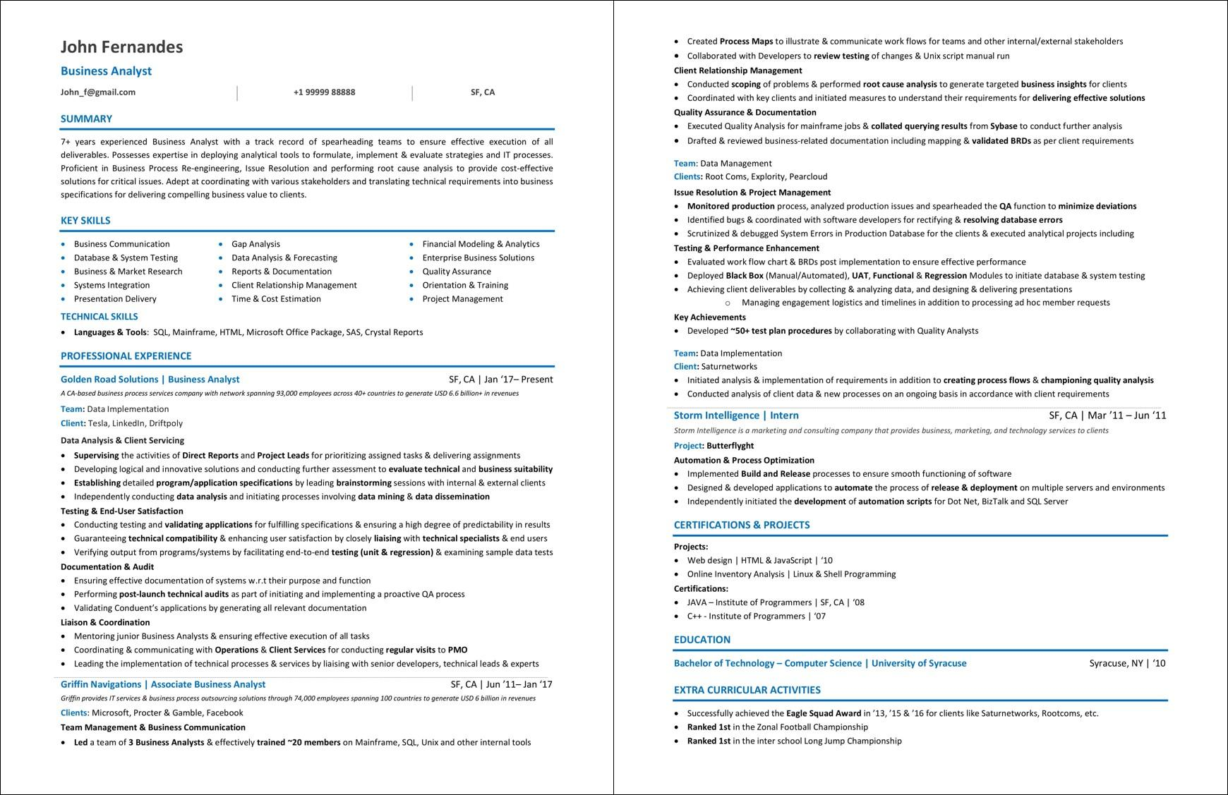 99 Awesome Business Analyst Resume Examples 2018 by Gallery