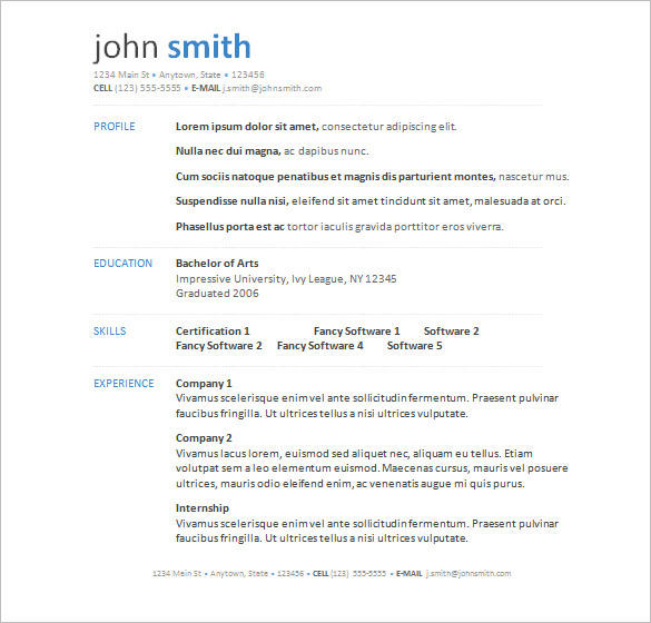99 Awesome Resume Examples Word for Images