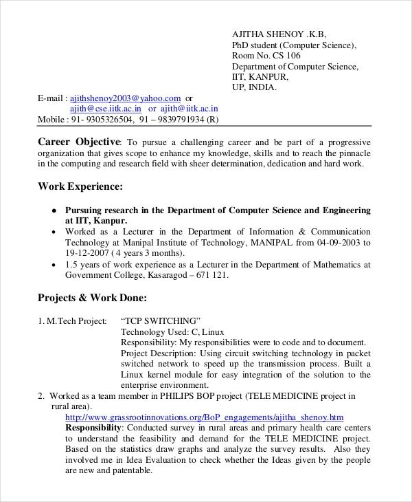 99 Top Sample Resume For Computer Science Engineering Students for Pics
